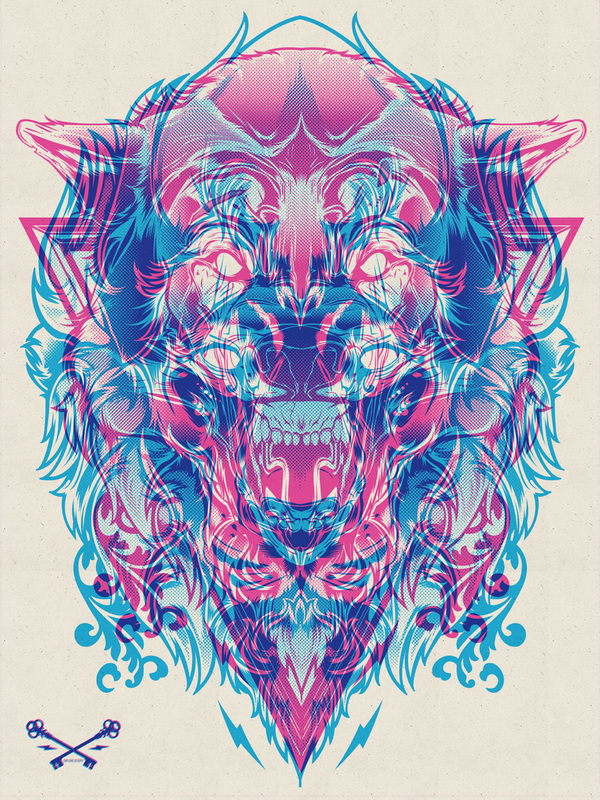 Halftone Print Series from Joshua M. Smith: halftone-print-series-wolf-lion_1_20120411_1895796685.jpeg
