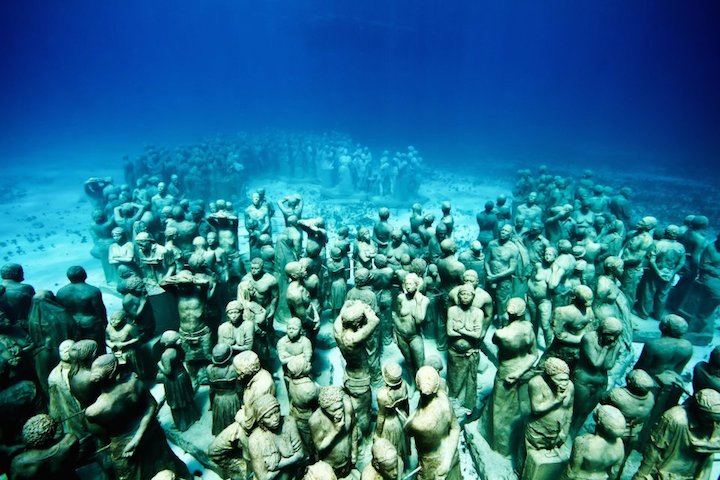 Jason deCaires Taylor's Submerged Figurative Sculptures House Thriving Coral Reefs: Juxtapoz-UnderwaterSculpture00.jpg