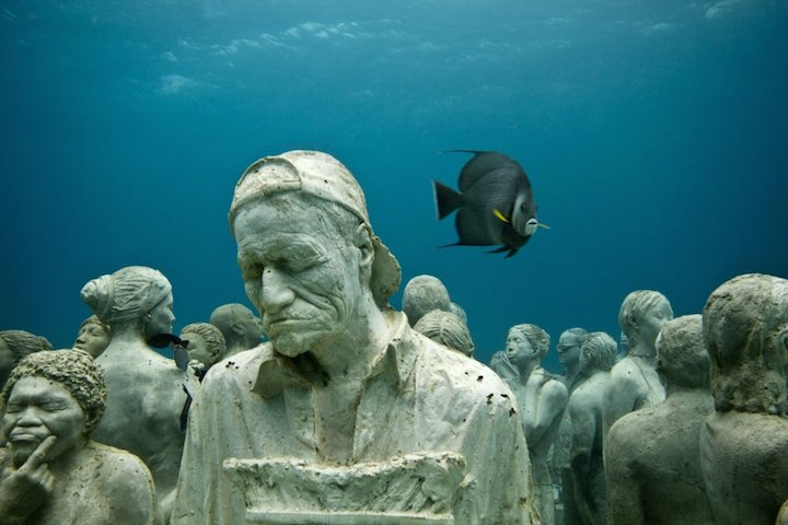 Jason deCaires Taylor's Submerged Figurative Sculptures House Thriving Coral Reefs: Juxtapoz-UnderwaterSculpture01.jpg