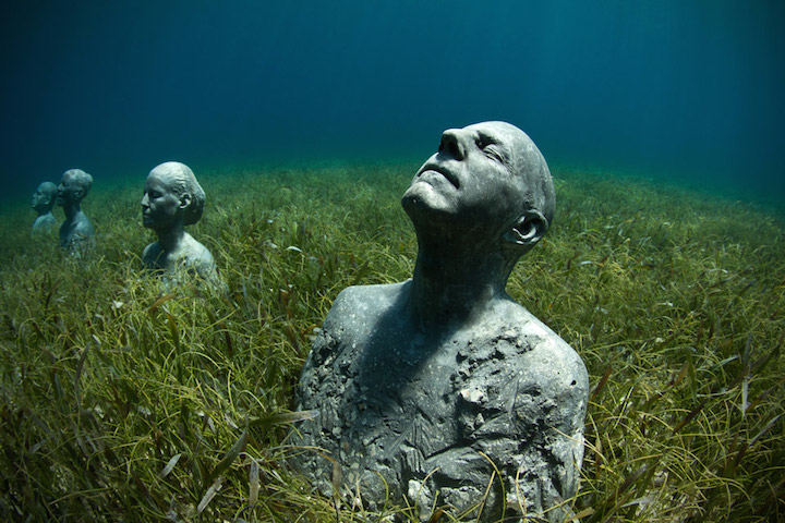 Jason deCaires Taylor's Submerged Figurative Sculptures House Thriving Coral Reefs: Juxtapoz-UnderwaterSculpture02.jpg