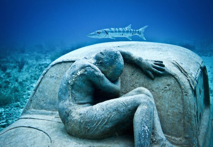 Jason deCaires Taylor's Submerged Figurative Sculptures House Thriving Coral Reefs: Juxtapoz-UnderwaterSculpture03.jpg