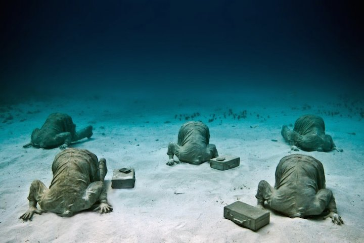 Jason deCaires Taylor's Submerged Figurative Sculptures House Thriving Coral Reefs: Juxtapoz-UnderwaterSculpture04.jpg