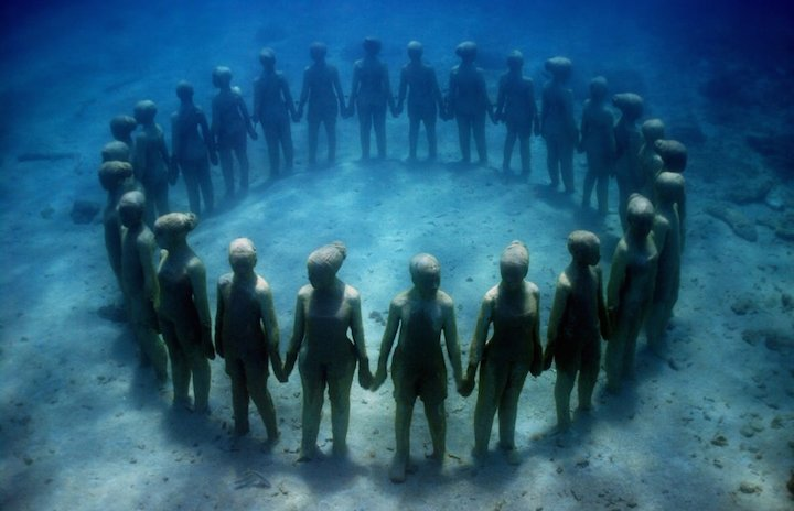 Jason deCaires Taylor's Submerged Figurative Sculptures House Thriving Coral Reefs: Juxtapoz-UnderwaterSculpture05.jpg