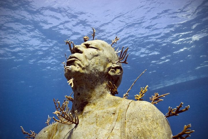 Jason deCaires Taylor's Submerged Figurative Sculptures House Thriving Coral Reefs: Juxtapoz-UnderwaterSculpture09.jpg