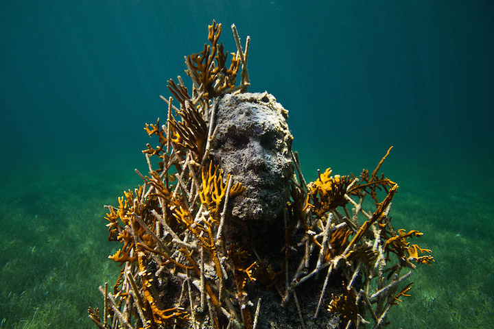 Jason deCaires Taylor's Submerged Figurative Sculptures House Thriving Coral Reefs: Juxtapoz-UnderwaterSculpture10.jpg