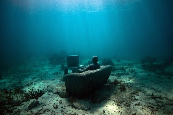 Jason deCaires Taylor's Submerged Figurative Sculptures House Thriving Coral Reefs: Juxtapoz-UnderwaterSculpture11.jpg