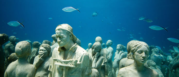 Jason deCaires Taylor's Submerged Figurative Sculptures House Thriving Coral Reefs: Juxtapoz-UnderwaterSculpture15.jpeg