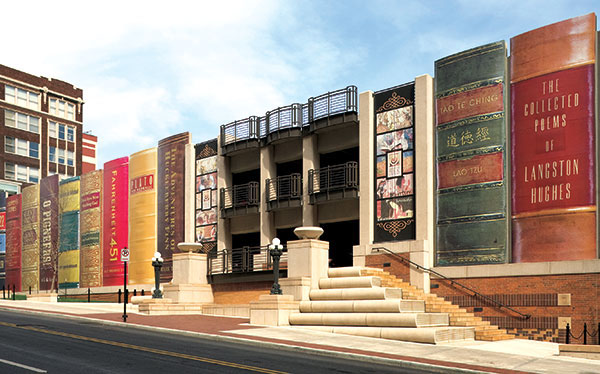 Kansas City Library Parking Garage Turned Into Gigantic Books: kansas_city_library_parking_garage_9_20120709_1704554761.jpg