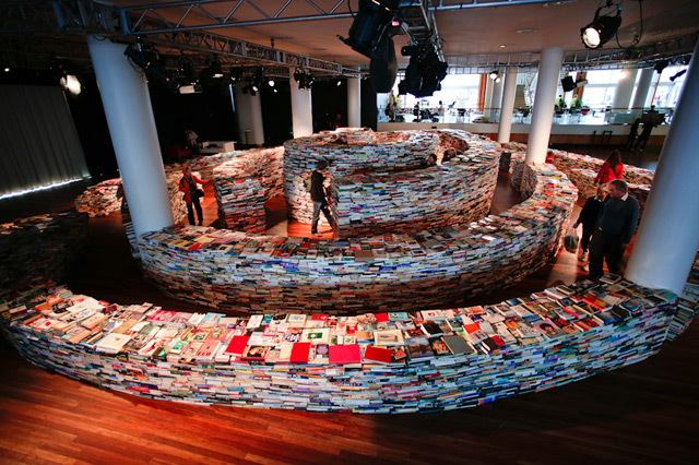 "Marcos Saboya and Gualter Pupo's ""Book Maze"" @ Southbank Centre,"