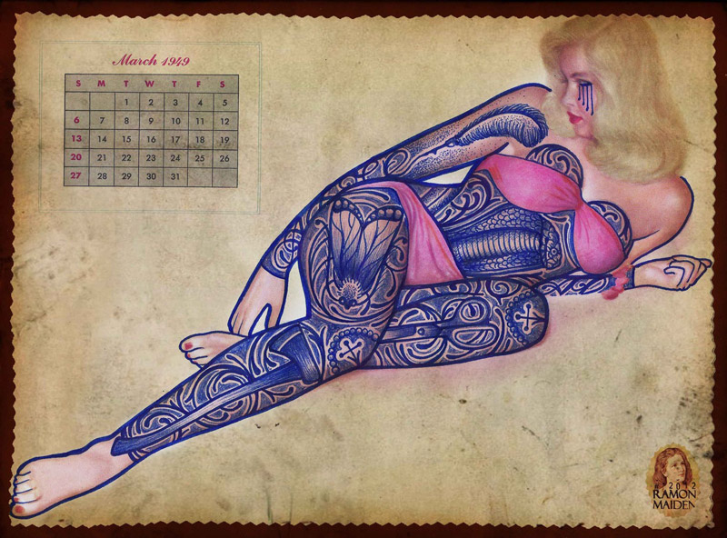 Tattooed Vintage Illustrations by Ramon Maiden: Ramon-Maiden_web17.jpg