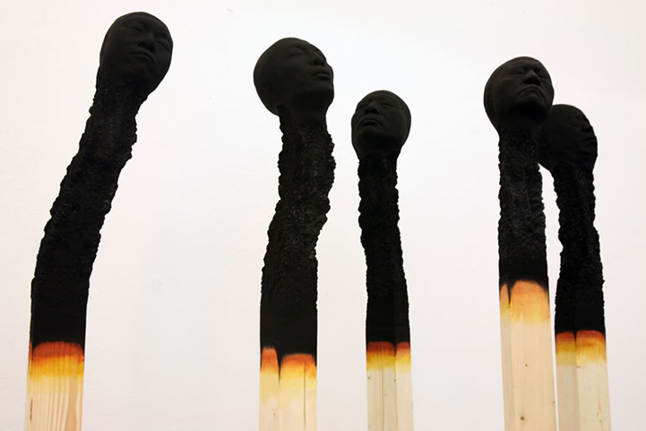Giant Charred Matchstick Faces by Wolfgang Stiller: WolfgangStiller3.jpg