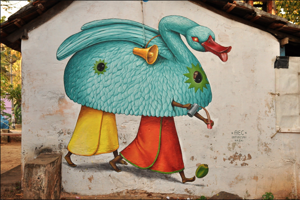 Multiple murals painted by AEC of Interesni Kazki in India: jux_ interesni_waone15.png