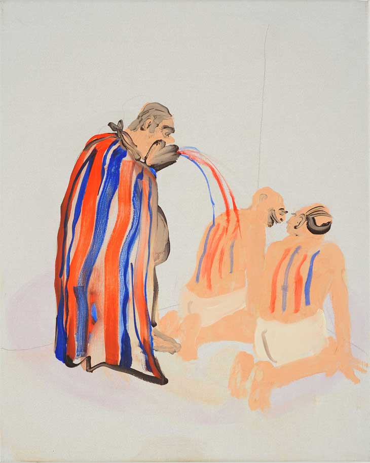 Paintings by Tala Madani: tala_madani_man_cape.jpeg