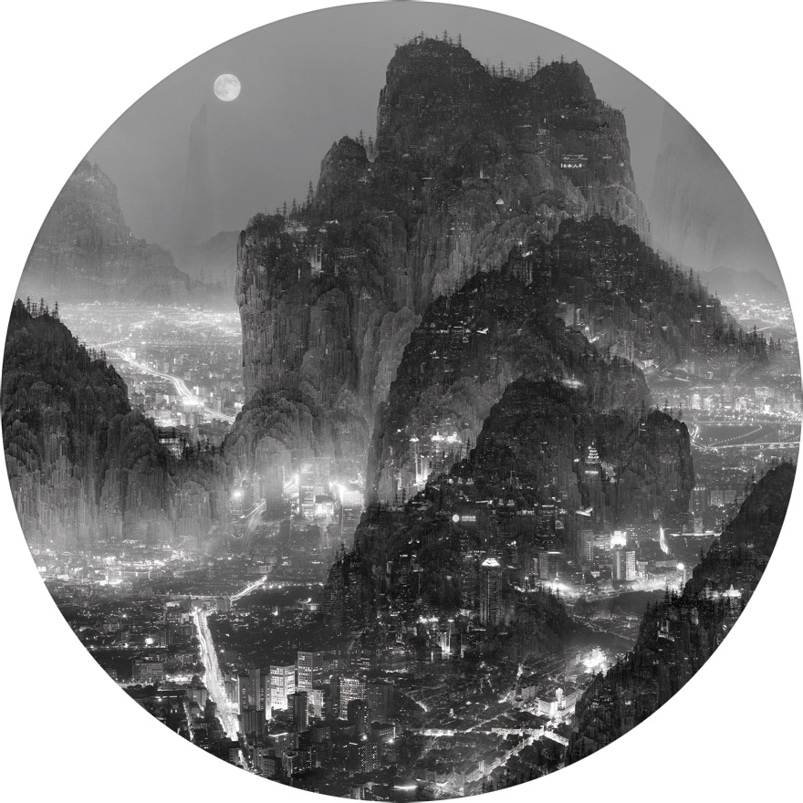 Photographic and Sculpture Works by Yang Yongliang: moonlight.jpeg