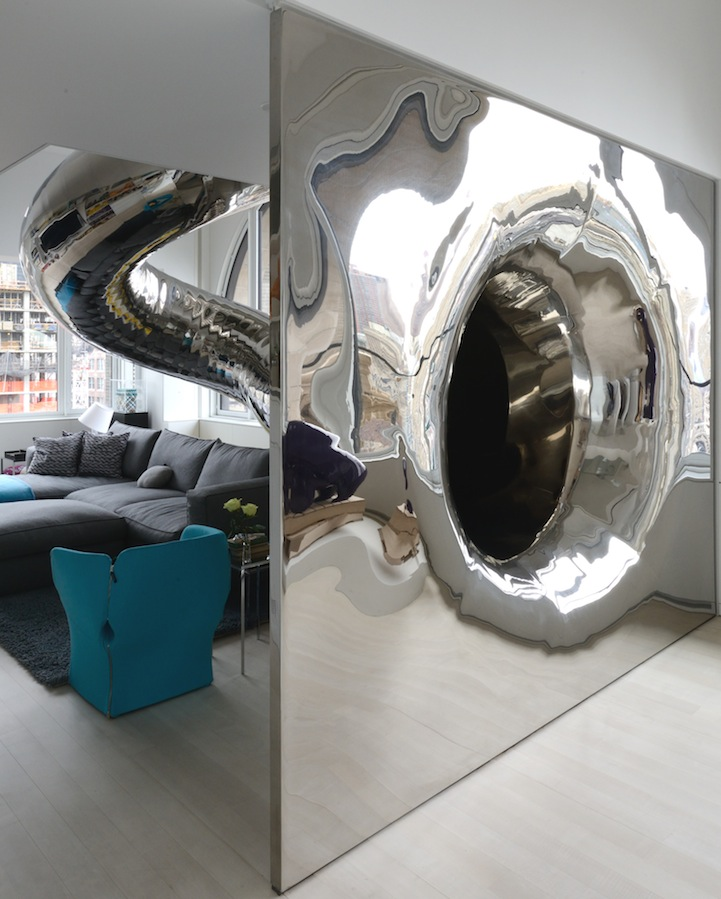 This Modern Home has a Multi-Story Indoor Slide: davidhotsonskyhouseslide10.jpg