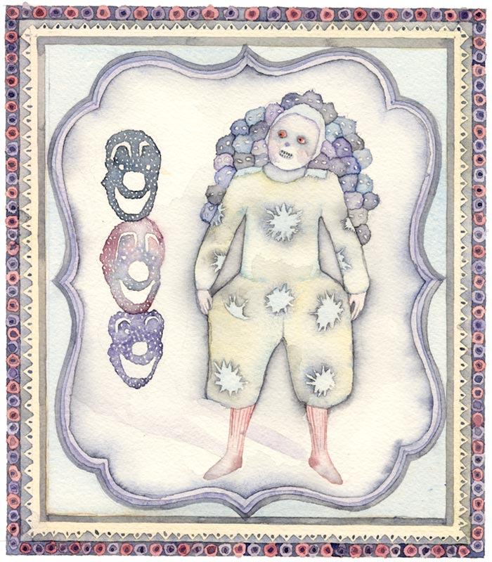 Watercolors by Tara Marynowsky: 2_blue_valentine_clown.jpg