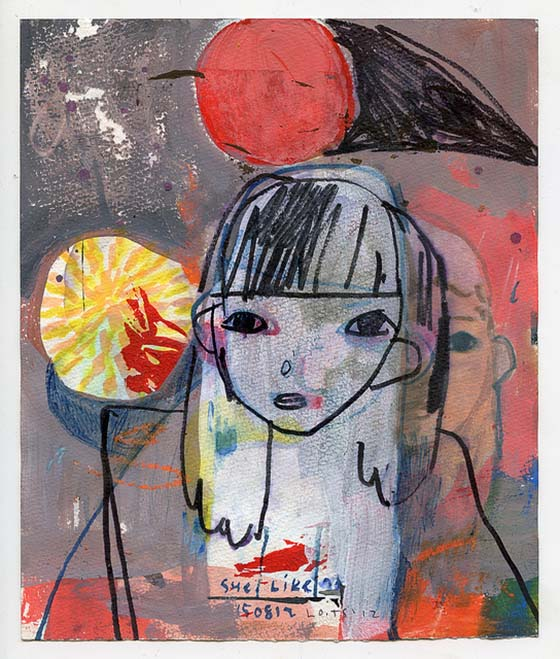Tessar Lo's Expressionistic Illustrations: she-like-the-7-x-8-5-18-x-22-cm-mixed-media.jpeg