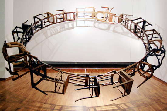 Suspended Loop of Chairs by Marc Andre Robinson: marcandrerobinsonbythemselvesandofthemselves1.jpg