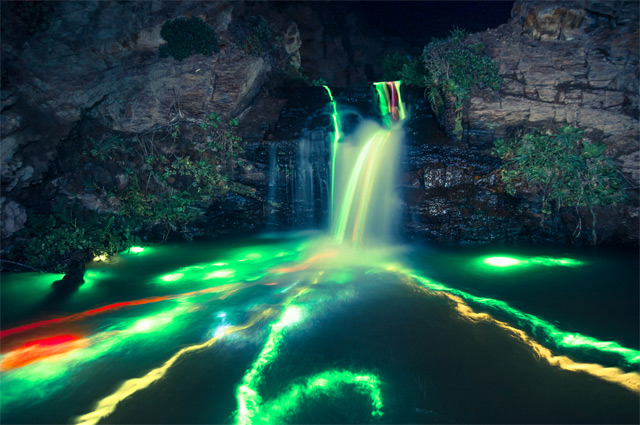 Neon Waterfalls by Sean Lenz and Kristoffer Abildgaard: waterfall-1.jpg