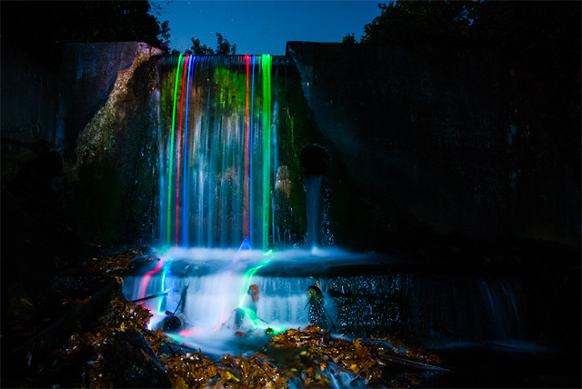 Neon Waterfalls by Sean Lenz and Kristoffer Abildgaard: waterfall-3.jpg