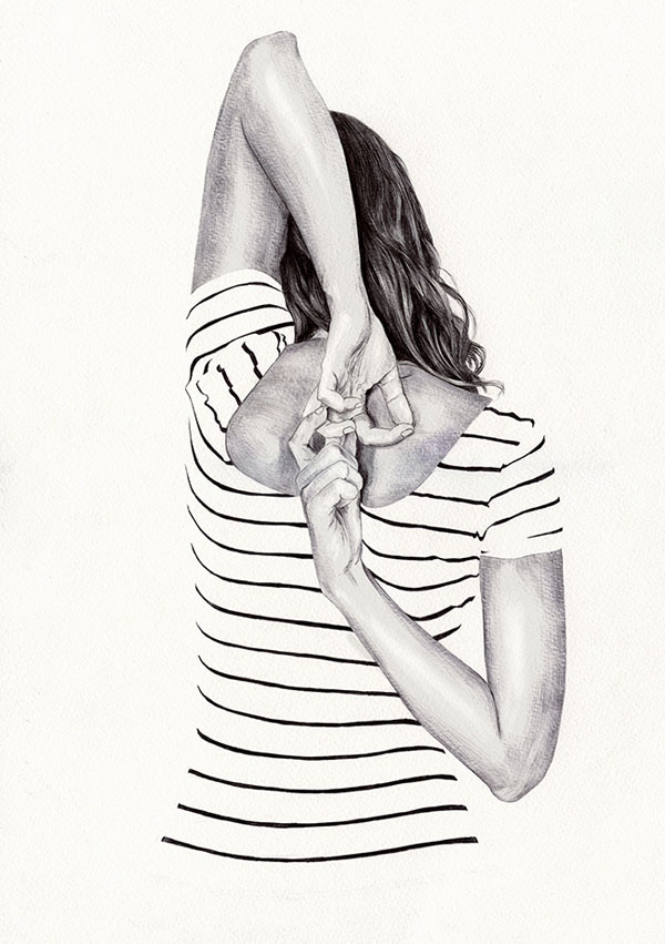 Ballpoint Illustrations by Chamo San: Back-II-ink-on-paper-drawing-by-Chamo-San.jpg