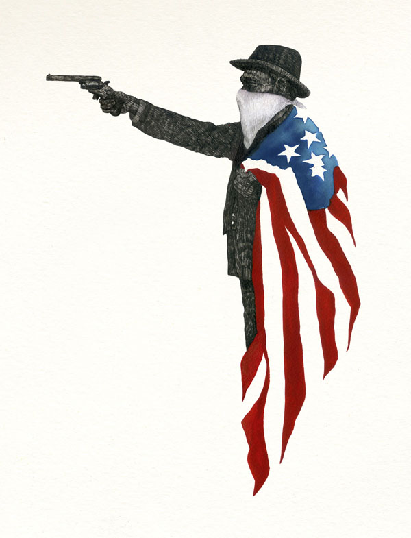 Heritage by Felipe Merida: AMERICAN-GUN-ink-and-watercolor-on-paper-by-TIPI-THIEVES-43552.jpg