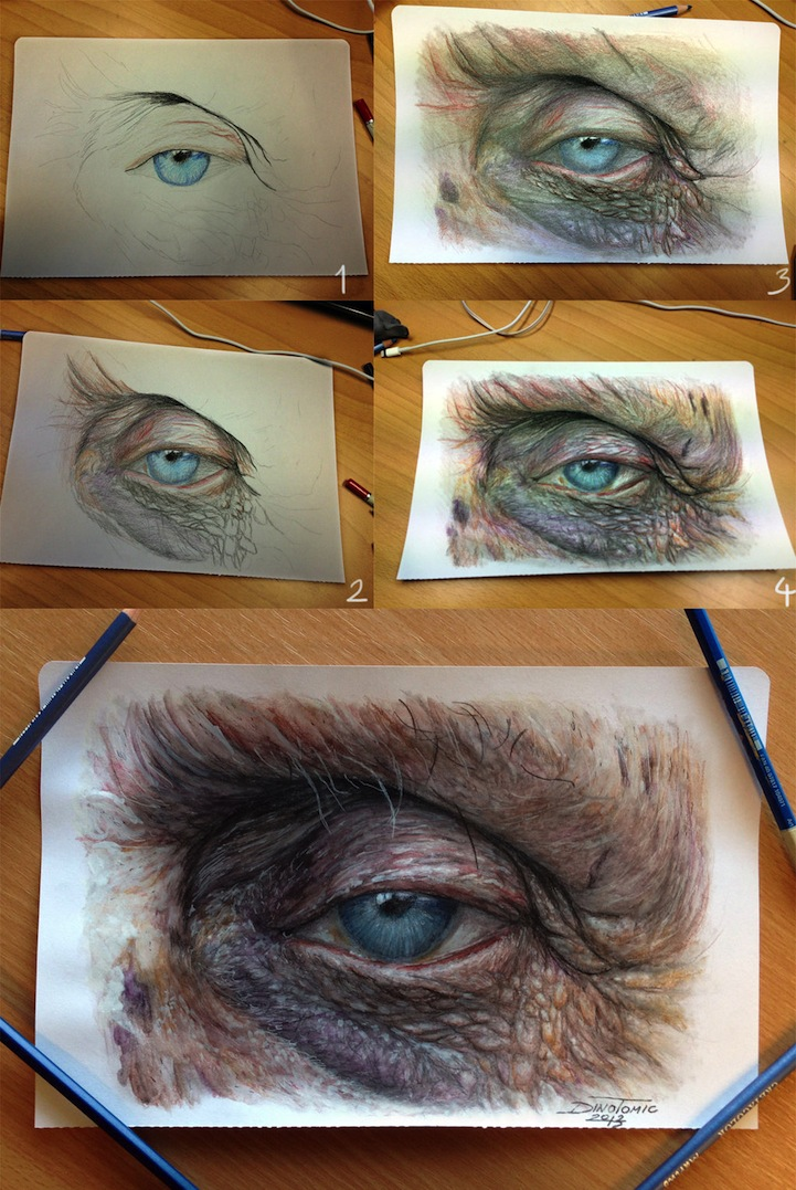 Hyperreal Eye Studies by Dino Tomic: atomiccircuscolorpencileyes2.jpg