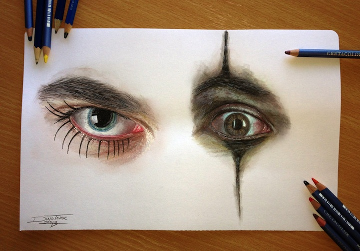 Hyperreal Eye Studies by Dino Tomic: atomiccircuscolorpencileyes5.jpg