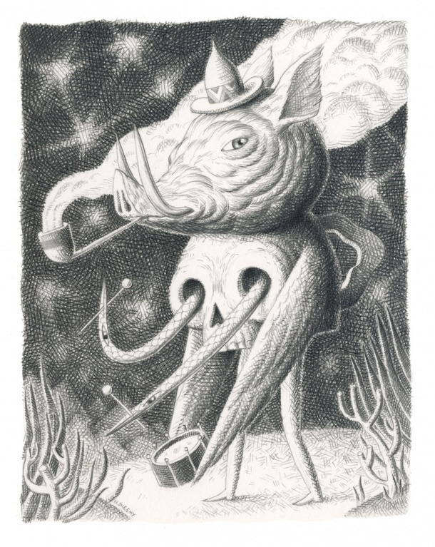 Dreamlike Drawings by Nick Sheehy: pigPipeSkull-610x767.jpg