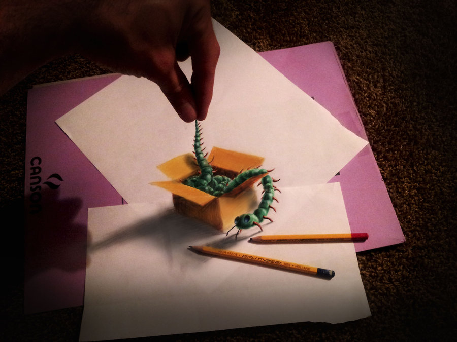 3D Drawings by Muhammad Ejleh: caterpillar_in_a_box_by_jjkairbrush-d59ebyn.jpg