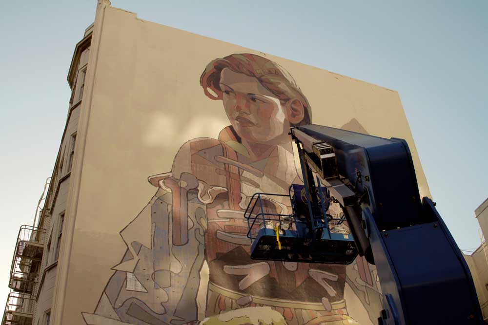 Aryz Working on a New Mural in San Francisco's Tenderloin: mural2.jpg