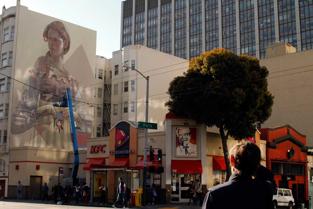 Aryz Working on a New Mural in San Francisco's Tenderloin: mural3.jpg