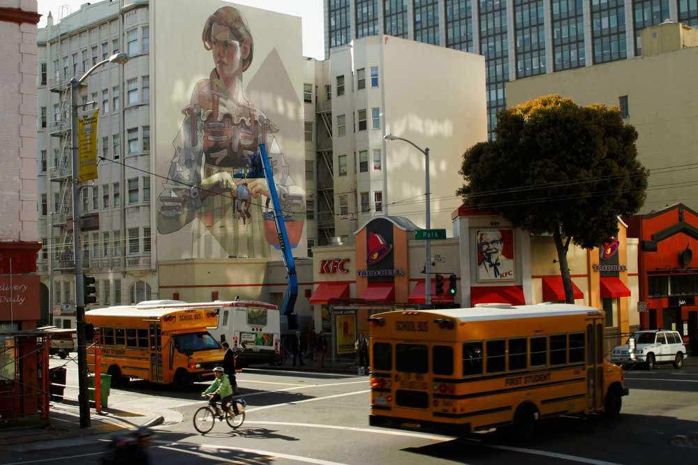 Aryz Working on a New Mural in San Francisco's Tenderloin: school.jpg