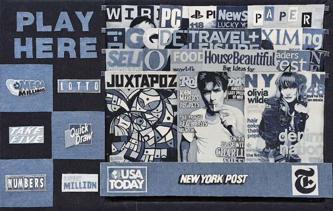 Life-Sized Newsstand Made from Denim by Denimu: Denimu-4-650x411.jpg