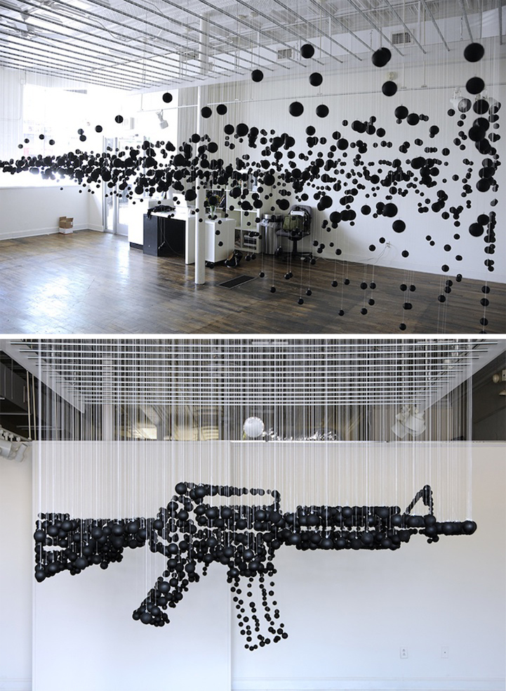 Assault Rifle Graphic Illusion Made From Ping Pong Balls: michaelmurphy.jpg