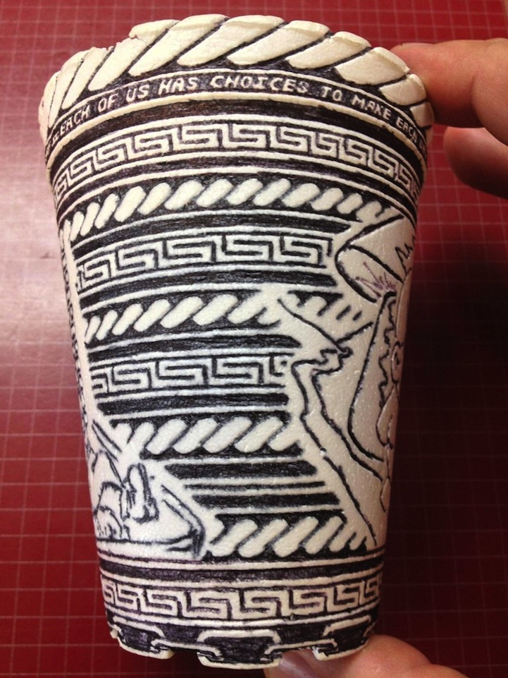Anonymous Artist Leaves Behind Incredibly Detailed Styrofoam Cup Doodle: styrofoamcupdoodleart2.jpg