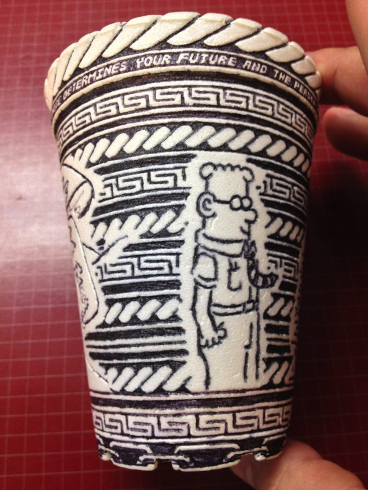 Anonymous Artist Leaves Behind Incredibly Detailed Styrofoam Cup Doodle: styrofoamcupdoodleart4.jpg
