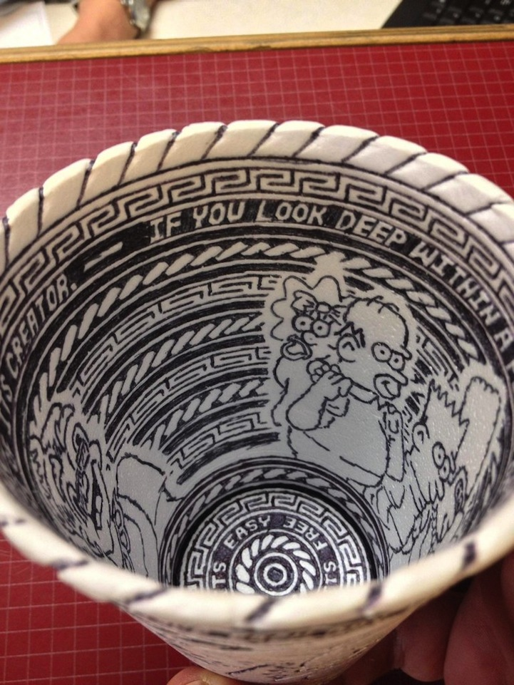 Anonymous Artist Leaves Behind Incredibly Detailed Styrofoam Cup Doodle: styrofoamcupdoodleart6.jpg