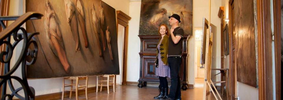 Odd Nerdrum Open House, Maisons-Laffitte, France: BrandonKralik&NanneNyander top 2nd floor landing by Gro Raugland.jpg