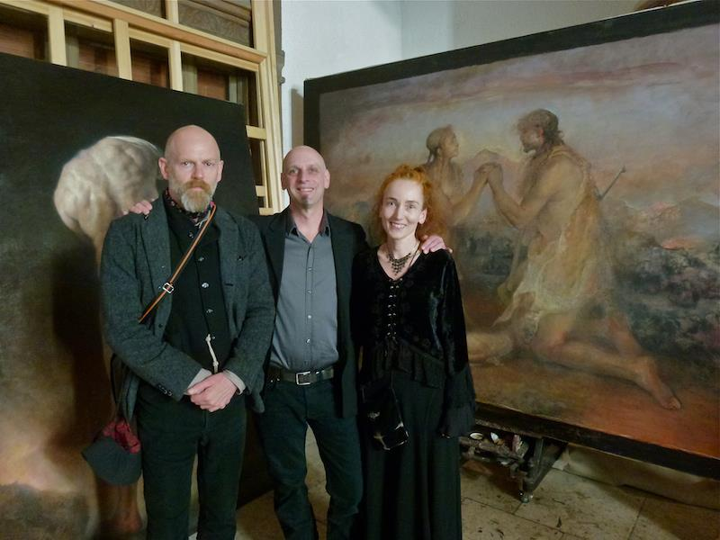 Odd Nerdrum Open House, Maisons-Laffitte, France: David Dalla Venezia, Brandon Kralik & Nanne Nyander in Odd's studio-Photo by Gro Raugland.jpg