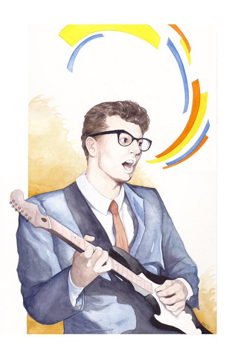 Watercolor Works by Delia Evin: BuddyHolly.jpg