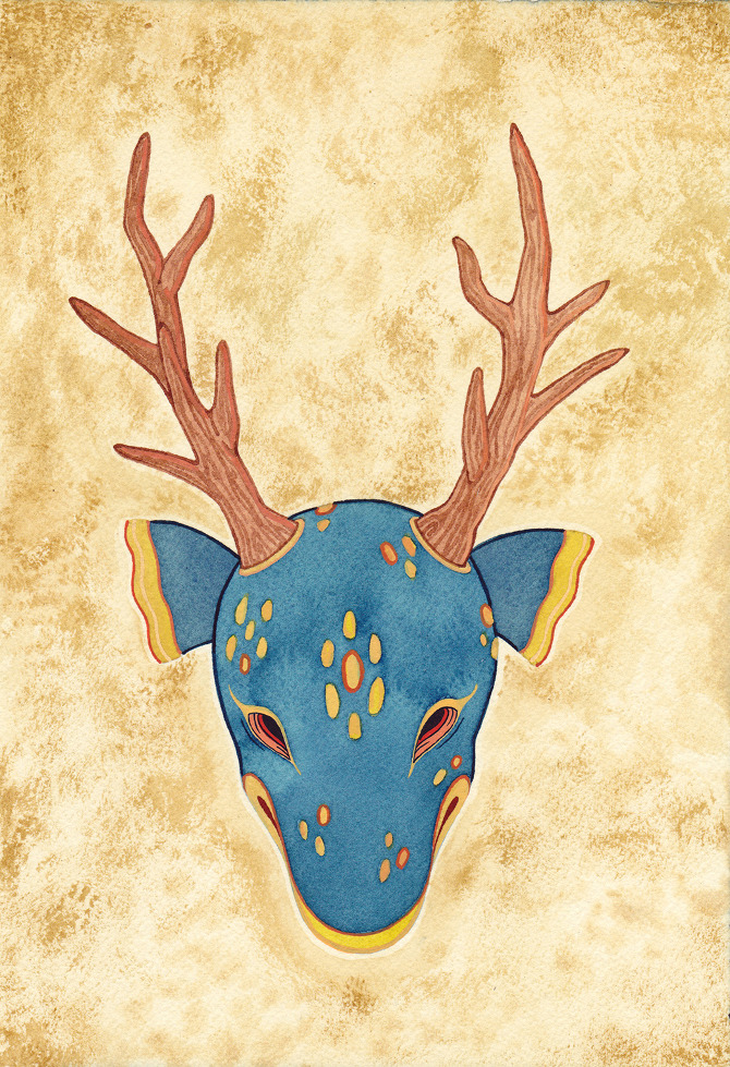 Watercolor Works by Delia Evin: Deermask_small.jpg