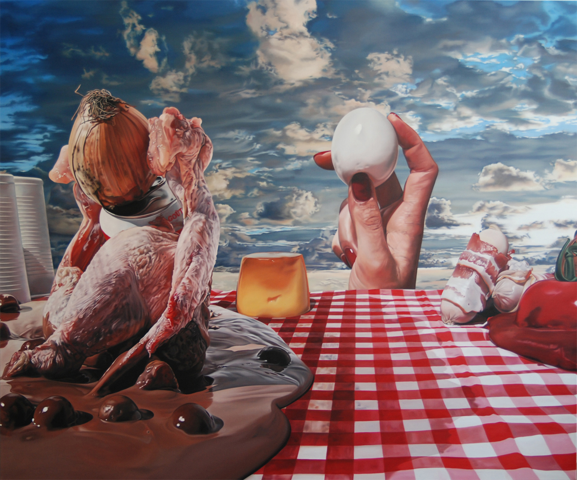 Surreal Paintings by Till Rabus: Camping lunch 4.jpg