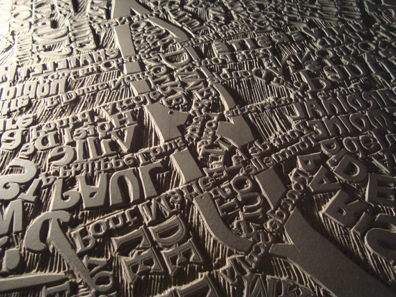 Mark Webber Carves Giant Typographic Linocut Map of Paris: 3723709440_5f3a28fb64_b_0.jpg