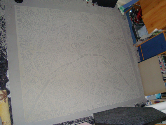 Mark Webber Carves Giant Typographic Linocut Map of Paris: 3723710224_128a314f8e_b_0.jpg