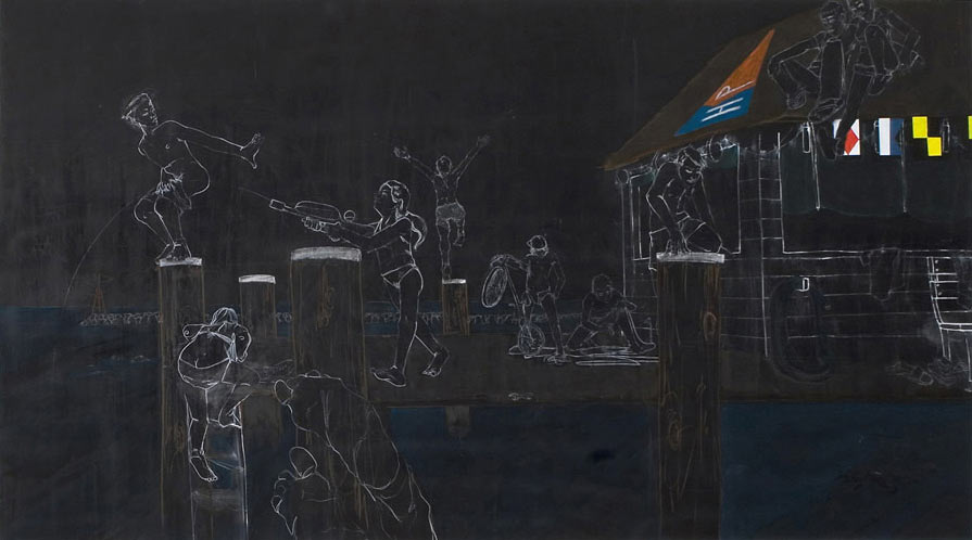 Chalkboard Style Paintings by Maximilian Toth: mtoth-1920-2007-out-of-the-ocean-onto-the-pier.jpg
