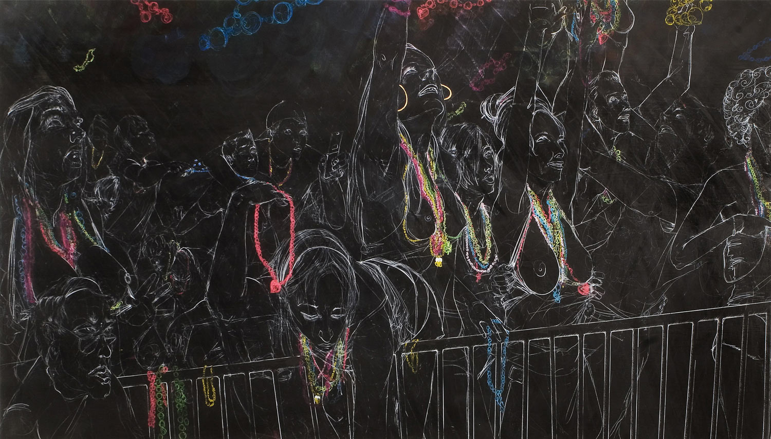 Chalkboard Style Paintings by Maximilian Toth: mtoth-1920-2007-witnesses-awaiting-judgement.jpg