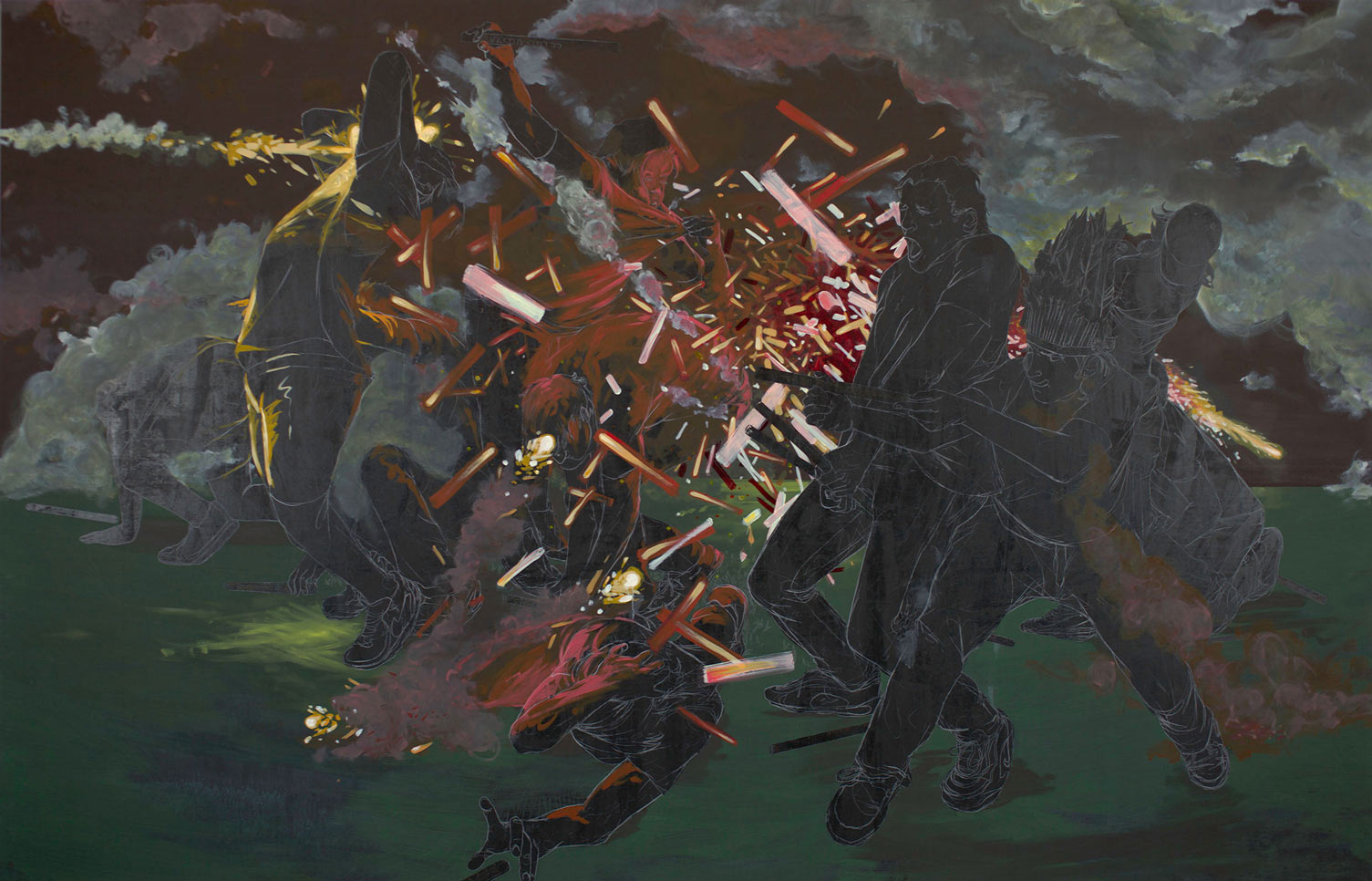 Chalkboard Style Paintings by Maximilian Toth: mtoth-1920-2012-roman-candle-battle.jpg