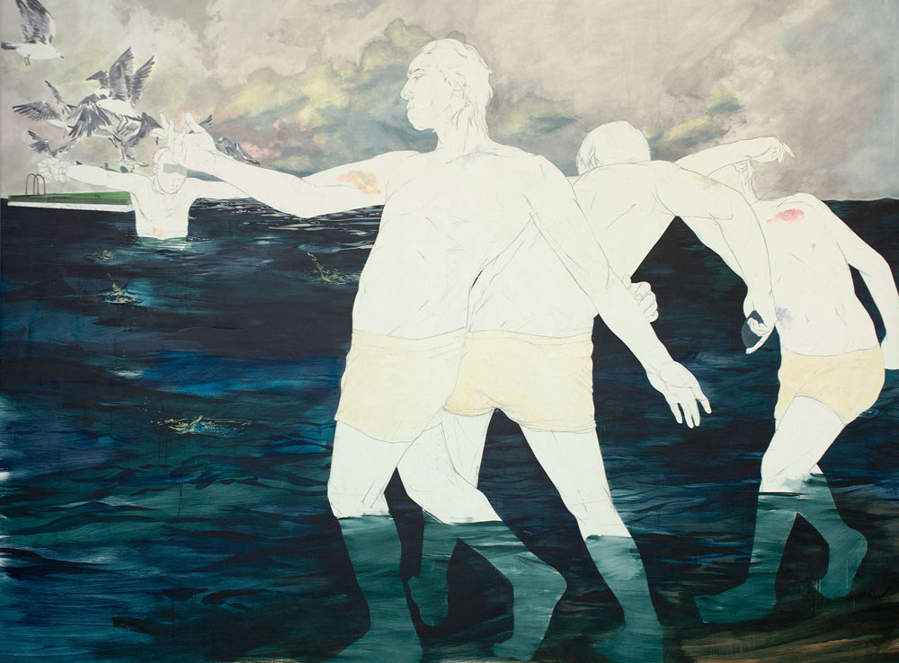 Chalkboard Style Paintings by Maximilian Toth: mtoth-1920-2012-skipping-stones.jpg