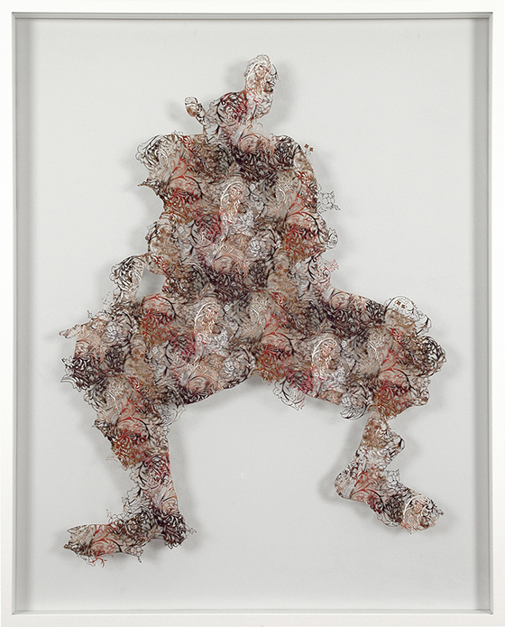 """The Collector"" by Tom Gallant: 6_the-collector-iii-bachelors-button-2006-paper-cuts-glass-wood--steel-130-x-100-cm.jpg"